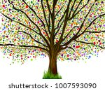 multicolored tree of dots.... | Shutterstock .eps vector #1007593090