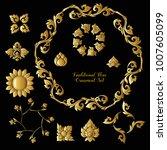 set of gold decorative elements ... | Shutterstock .eps vector #1007605099