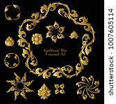 set of gold decorative elements ... | Shutterstock .eps vector #1007605114