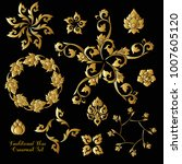 set of gold decorative elements ... | Shutterstock .eps vector #1007605120