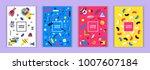 set of memphis style bright... | Shutterstock .eps vector #1007607184