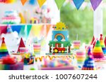 kids birthday party decoration. ... | Shutterstock . vector #1007607244