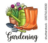 hand drawn gardening banner.... | Shutterstock .eps vector #1007614030