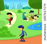 vector green city park holiday... | Shutterstock .eps vector #1007617174