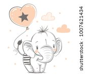 Stock vector cute baby elephant with balloon cartoon hand drawn vector illustration can be used for baby t 1007621434