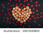 valentine heart from wine corks ... | Shutterstock . vector #1007630803