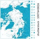 arctic ocean map and navigation ... | Shutterstock .eps vector #1007643826