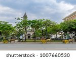 Small photo of Feb 21,2018 Wagons waiting for tourists in front of Manila Cathedral, Manila , Philippines