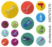hairdresser and tools flat... | Shutterstock .eps vector #1007672170