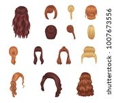 female hairstyle cartoon icons... | Shutterstock .eps vector #1007673556