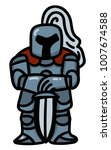 soldier in armor  leaning on...   Shutterstock .eps vector #1007674588