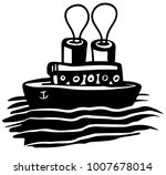 steam boat with two chimneys   Shutterstock .eps vector #1007678014