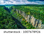 Aerial of Ouimet Canyon, Ontario, Canada
