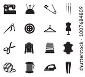 sewing icons. black flat design.... | Shutterstock .eps vector #1007684809
