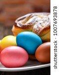 colorful festive easter eggs... | Shutterstock . vector #1007693878