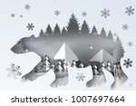 paper art of forest lanscape... | Shutterstock .eps vector #1007697664