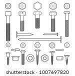 metal fasteners line vector.... | Shutterstock .eps vector #1007697820