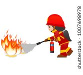 extinguish fire. fire woman... | Shutterstock . vector #1007698978