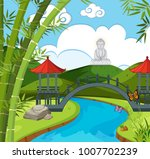 chinese temple with river and... | Shutterstock .eps vector #1007702239