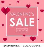 valentine sale poster design... | Shutterstock .eps vector #1007702446