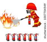 Extinguish Fire. Fireman Hold...