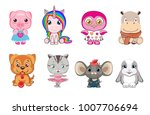 set of 8 cute animals isolated... | Shutterstock .eps vector #1007706694