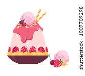 korean ice shaving dessert with ... | Shutterstock .eps vector #1007709298