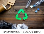 green paper recycling sign...   Shutterstock . vector #1007711890