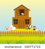 barn  farm with animals  vector ... | Shutterstock .eps vector #100771723