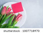 festive table setting with... | Shutterstock . vector #1007718970