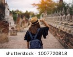 young woman traveler with sky... | Shutterstock . vector #1007720818