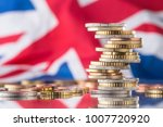 tower with euro coins and flag... | Shutterstock . vector #1007720920