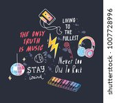 cool t shirt design in doodle... | Shutterstock .eps vector #1007728996