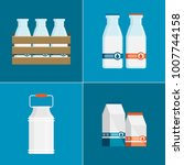 flat vector milk icon set...