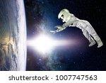 astronaut in space  in zero...   Shutterstock . vector #1007747563