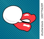 lips  mouth  speech bubble. pop ... | Shutterstock .eps vector #1007756209