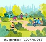 people in a beautiful urban... | Shutterstock .eps vector #1007757058