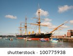 hms warrior  moored in...