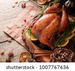 roast chicken or turkey for... | Shutterstock . vector #1007767636