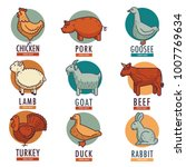 meat and poultry flat animal...   Shutterstock .eps vector #1007769634