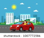 red car on the road in urban... | Shutterstock .eps vector #1007772586