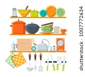 kitchen tools and restaurant... | Shutterstock .eps vector #1007772634