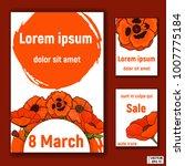 postcard set  poppy on white | Shutterstock .eps vector #1007775184