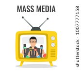 man giving press conference on... | Shutterstock .eps vector #1007777158