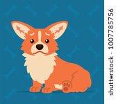 cute welsh corgi sitting sad.... | Shutterstock .eps vector #1007785756