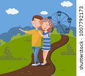 couple in love making selfie in ...   Shutterstock .eps vector #1007792173
