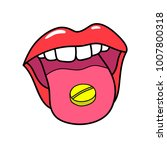 open mouth holding medicine... | Shutterstock .eps vector #1007800318