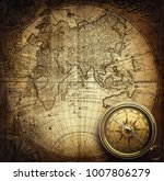 old vintage retro compass on... | Shutterstock . vector #1007806279