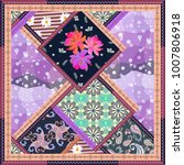 patchwork pattern with floral ...   Shutterstock . vector #1007806918