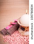 spa decoration on wooden mat background - stock photo